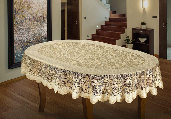 Oval Tablecloth Heavy Lace Golden Beige Large Premium 55