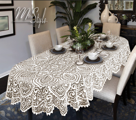 White Lace Tablecloth ...