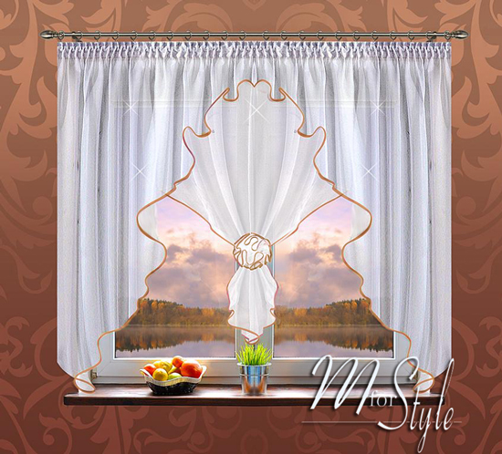 german voile net curtain white gold flower ready made fits small medium window ebay. Black Bedroom Furniture Sets. Home Design Ideas